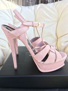 d67da0923cb Saint Laurent Ysl Tribute Platform 105 Light Soft Pale Suede Pump 40.5 Nib  Pink Sandals.