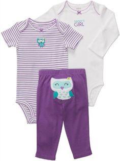 Carter's Baby Girls 3-piece L/S Bodysuit Pants Set (6 Months, Purple Owl)