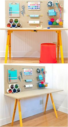 17 Easy To Build DIY Craft Desks You Just Can't Live Without Cute DIY Kids' Craft Station Related posts: 25 + › Easy DIY desk idea! How to build a DIY modern farmhouse desk with drawers and sh… How To Build Your Own DIY Craft Station Ana White Diy Crafts Desk, Craft Desk, Diy Crafts For Kids, Easy Crafts, Craft Rooms, Easy Diy, Craft Kids, Kids Diy, Kids Rooms