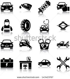 Buy Auto Mechanic Icons by plutofrosti on GraphicRiver. Set of 16 auto mechanic related icons Files: AI, EPS and high resolution JPG Logo Garage, Repair Shop, Car Repair, Vehicle Repair, Coreldraw, Diy Car, Tow Truck, Car Cleaning, Car Wash