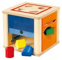Selecta wooden toys at Babipur. Drop the four shapes through the slots on the top of this wooden shape sorter before retrieving them from the four sides.