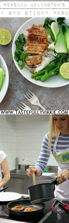 Rebecca Adlington's Slimming World 1 Syn Each Sticky Pork Medallions with Greens - Tastefully Vikkie