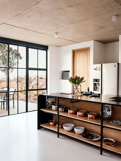 Industrial Style Architect's House created by Nadine Engelbrecht in South Africa using a barn as inspiration Stunning wooden island acts as a central hub of the kitchen space Industrial Kitchen Design, Interior Design Kitchen, Industrial Style, Minimal Kitchen Design, Industrial Windows, Modern Interior, Kitchen Furniture, Kitchen Decor, Kitchen Ideas