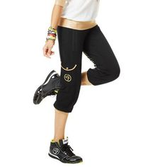 Zumba Dance Fitness Galactic Gold Capri Workout Pants In Black And Gold! Nwt!