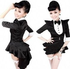 Free Shipping Sexy Ladies Broadway Dance Dress Nightclub Bar Magician Jazz Stage Clothes Black Tuxedo DS Costumes Apparel-in Costumes & Acce...