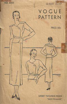 Vogue 6105 Vintage 30s Sewing Pattern Size 14 by studioGpatterns