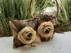 Flower Girl Basket & Wedding Ring Pillow Set Brown Rustic Fall. $55.00, via Etsy.