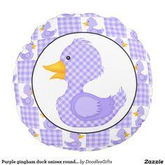 Purple gingham duck unisex round pillow