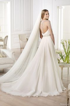pronovias 2014 atelier bridal collection yajaida long sleeve wedding dress illusion back