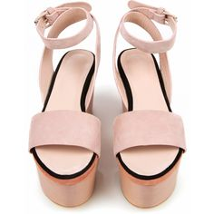 Cacharel J Platform Sandals - Nude - A3201 (4.820 ARS) ❤ liked on Polyvore featuring shoes, sandals, heels, pink, wedges, women, pink wedge sandals, platform wedge sandals, wood platform sandals and nude wedge sandal