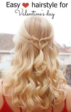 Easy Heart hairstyle for Valentine's day. Tutorial at https://hairsaffairs.com/3-easy-hairstyles-valentines-day