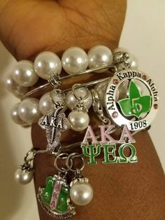 Alpha Kappa Alpha Sorority, Inc. Our number bracelets are just the thing you need to add a little bling to your day. You can choose from numbers * Pearl Bracelet * The charm is approximately inches in diameter with pink rhinestones on it Aka Sorority Gifts, Alpha Kappa Alpha Sorority, Sorority And Fraternity, Sorority Life, Sorority Canvas, Sorority Paddles, Sorority Crafts, Sorority Recruitment, Delta Gamma