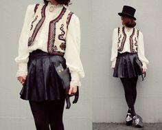 Vintage Vest, Blouse, Brooch, Romwe Bag, Bebaroque Tights, Sheinside Skirt - With black kitty - Shan  Shan