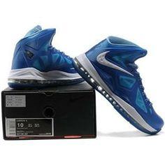 http://www.asneakers4u.com/ Nike Lebron 10 X  Blue Diamond Shoes Blue/White