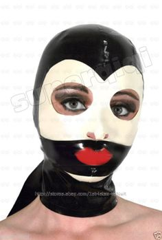 New 100% Latex/rubber Mask 0.45mm line lip Hood catsuit suit sexy 2 style