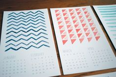 This year's handmade Christmas gift. 2012 calendar in watercolor patterns!