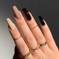 Colored Acrylic Nails, Simple Acrylic Nails, Best Acrylic Nails, Black Acrylic Nails, Black Nail Art, Black Nails, Classy Nails, Stylish Nails, Sugar Nails