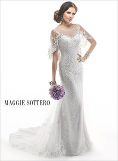 Demure illusion lace cascades along the flutter sleeves of this gorgeous lace wedding dress, Alvarez by Maggie Sottero.