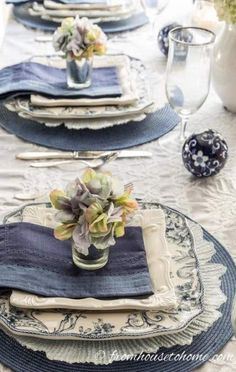 Hydrangea-inspired Blue and White Tablescape If you're looking for Easter dinner or spring table ideas, this blue and white table setting has a hydrangea centerpiece that is perfect for the occasion. The blue and white place setting is really pretty,