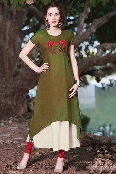 Samyakk Green Silk Embroidered Anarkali Kurti