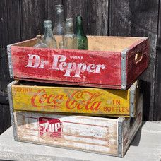Vintage Wooden Pop Crate - 7 up, Dr Pepper, and Coke Crates for Sale.  Send me a message if you are interested...  www.cottagekisses.etsy.com