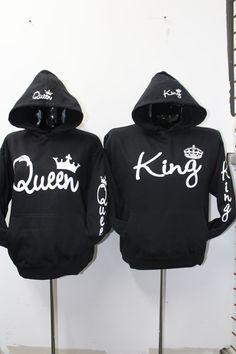 3ebc426c5d Sudaderas Para Parejas Long Sleeve King Queen Crown Printed Pullover  Hoodies Couples Lovers Sweatshirt Men Women Plus Size Hoody