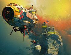 New science fiction illustration cyberpunk sci fi ideas Arte Sci Fi, Space Fantasy, Sci Fi Fantasy, Concept Ships, Concept Art, Art Science Fiction, Science Space, John Berkey, Sci Fi Kunst