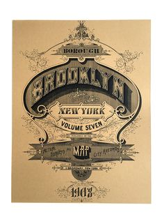 Items similar to Brooklyn Screen Printed Poster. Brooklyn New York art print, silkscreen print. Vintage Typography, Typography Letters, Typography Poster, Vintage Logos, Screen Print Poster, Hand Drawn Type, New York Art, Vintage Type, Silk Screen Printing