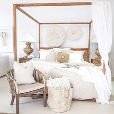 Perfect African inspired master bedroom...a little coastal and would even hit in Hampton style home ...PERFECT