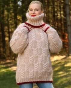 Made to order hand knitted mohair sweater in beige von supertanya