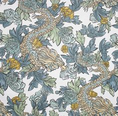 In stock. A most pleasant & welcoming dragon fabric! Dusty blues, mustard gold, soft sage green, sky blue and white. Ming Dragon, Midnight by @DwellStudio #dragonfabric