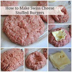 How to Make Swiss Cheese Stuffed Burgers
