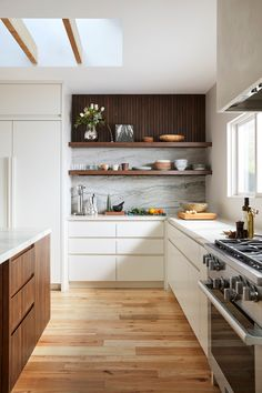 46 Great Examples of White Contemporary Kitchen Cabinets modern kitchen design // open shelving // w White Contemporary Kitchen, Contemporary Kitchen Cabinets, White Kitchen Cabinets, Wood Cabinets, Kitchen Cabinets Design, Walnut Kitchen, Open Cabinets, Base Cabinets, Cabinet Design