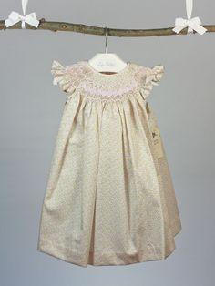 vestido belan bordado nido de abeja bebe verde y rosa . ropa clásica bebé