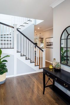 FYI: Hamptons Homes – Specialist Brisbane Builder Hamptons Style Homes, Hamptons House, The Hamptons, Foyer Design, Staircase Design, House Design, Brisbane, New Home Builders, House Stairs