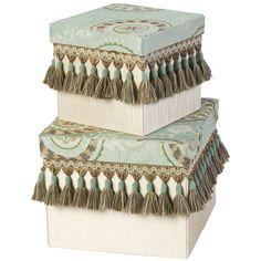 Jennifer Taylor Fortune Square Boxes with Tassel Fringe (Set of 2)