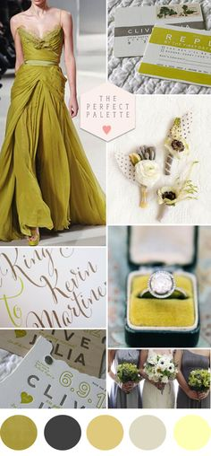 Chartreuse and Gray: www.theperfectpalette.com - Wedding Color Ideas
