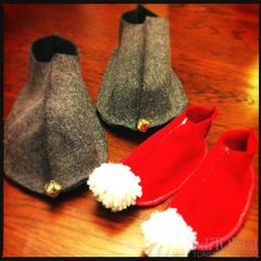 Felt Elf Slippers  This is a cute sewing craft to make for your hubby or little elves to wear on Christmas Eve…or just to wear around the house and slide across the floor in whenever they want (cause you know they will).