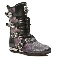 Black & Purple Leather Hybrid Boots w Skull Buckles *May take up to 45 - 50 Days to Receive*-Quality Black & Purple leather hybrid boots w paisley pattern from New Rock Shoes. Lacing up the front, Easy Zip on inner leg, 3 Skull buckles to adjust Purple Leather, Cow Leather, Paisley Pattern, Lilac, Combat Boots, Skull, Lace Up, Legs, Rock
