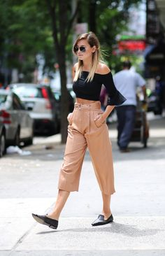 love it all! pointed loafers with chic top and culottes