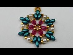 How to make a beaded pendant with twin beads and pearls DIY (tutorial + free pattern) - YouTube