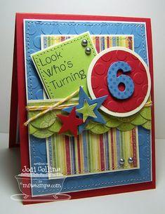 Kid's Birthday card - use Cricut Birthday Cards For Boys, Bday Cards, Happy Birthday Cards, Birthday Kids, Cricut Cards, Baby Kind, Card Making Inspiration, Card Tags, Card Kit