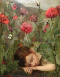 Fine 19th Century Boy Sleeping in Poppy Field Antique Oil Painting HARRINGTON