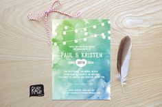 Watecolour String Lights invitation - digital or printed - watercolor wedding invitation, fairy lights invite, beach wedding, spring wedding