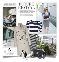 """""""Enjoy The Silence"""" by thewondersoffashion ❤ liked on Polyvore featuring Andrea, Margit Brandt, J.Crew, Burberry, Francesco Russo, Karen Walker, stripes, Chanel, BloggerStyle and FrancescoRusso"""