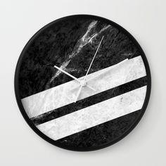 Black Striped Marble Wall Clock #marble #stone #texture #pattern #black #white #stripe #striped #wallclock #clock