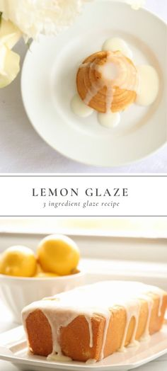 easy, refreshing Lemon Glaze made with just 3 ingredients! You can whip up this amazing Lemon Glaze recipe in 5 minutes. Lemon Glaze Icing is perfect for breads, pound cakes, angel food cakes and so much more! Lemon Dessert Recipes, Köstliche Desserts, Lemon Recipes, Delicious Desserts, Cake Recipes, Healthy Desserts, Bread Recipes, Angel Food Cake Desserts, Sweet Recipes