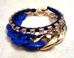 KRYSTALZ 4.6mm Gold Rhinestone & Acrylic Curb Chain Bracelets by Nu2uBoutique,$12.99