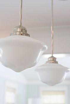 Milk glass school house pendants kitchen island