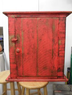 Nice wall cabinet, love the red color...